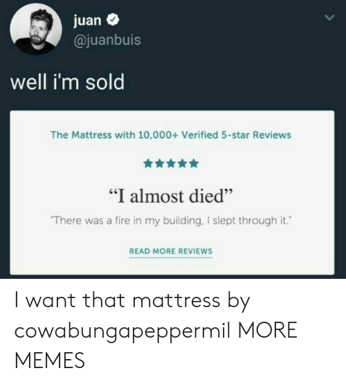 """juan: juan  @juanbuis  well i'm sold  The Mattress with 10,000+ Verified 5-star Reviews  """"I almost died""""  There was a fire in my building, I slept through it.  READ MORE REVIEWS I want that mattress by cowabungapeppermil MORE MEMES"""