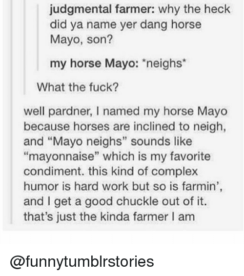 """Complex, Horses, and Memes: judgmental farmer: why the heck  did ya name yer dang horse  Mayo, son?  my horse Mayo: neighs  What the fuck?  well pardner, l named my horse Mayo  because horses are inclined to neigh,  and """"Mayo neighs"""" sounds like  """"mayonnaise"""" which is my favorite  condiment. this kind of complex  humor is hard work but so is farmin'  and I get a good chuckle out of it.  that's just the kinda farmer I am @funnytumblrstories"""