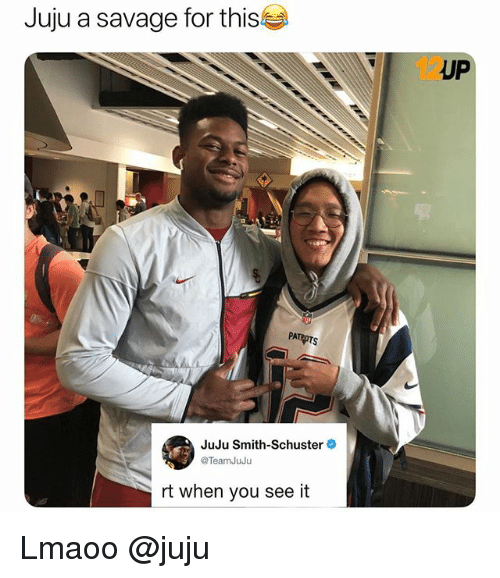 Funny, Savage, and When You See It: Juju a savage for this  IUP  PA  JuJu Smith-Schuster  TeamJuJu  rt when you see it Lmaoo @juju