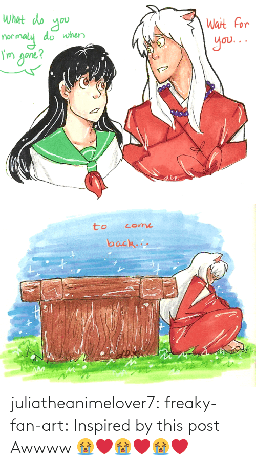kagome: juliatheanimelover7:  freaky-fan-art: Inspired by this post    Awwww 😭❤️😭❤️😭❤️