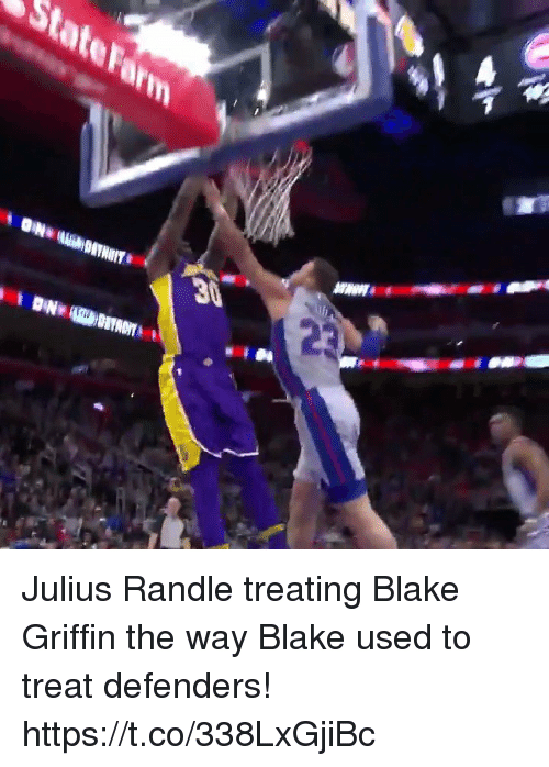 Blake Griffin: Julius Randle treating Blake Griffin the way Blake used to treat defenders!  https://t.co/338LxGjiBc