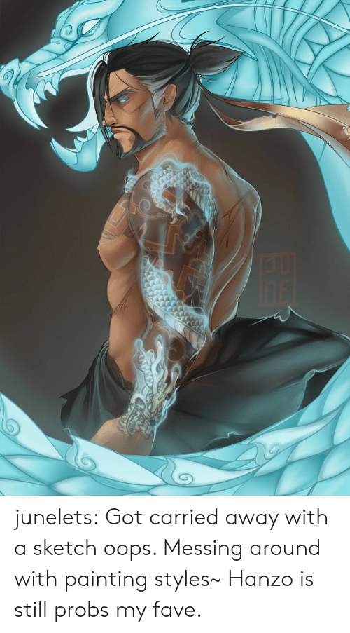 messing around: junelets: Got carried away with a sketch oops. Messing around with painting styles~ Hanzo is still probs my fave.