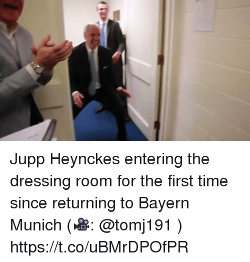 Memes, Time, and Bayern: Jupp Heynckes entering the dressing room for the first time since returning to Bayern Munich (🎥: @tomj191 )  https://t.co/uBMrDPOfPR