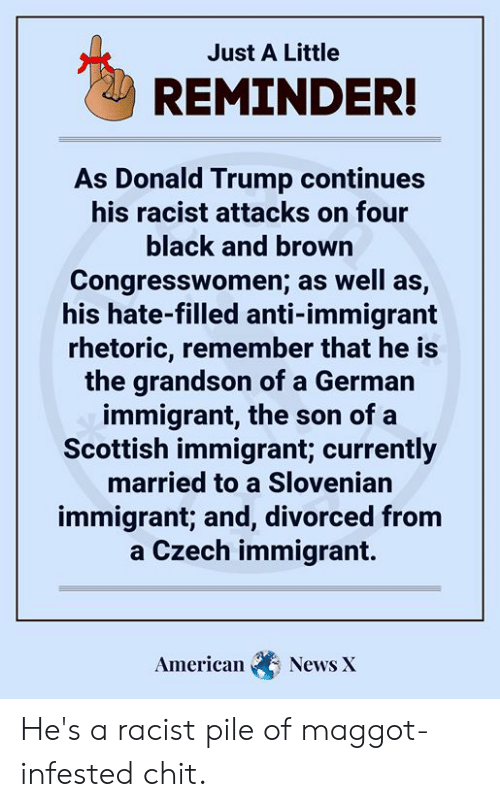 Donald Trump, Memes, and News: Just A Little  REMINDER!  As Donald Trump continues  his racist attacks on four  black and brown  Congresswomen; as well as,  his hate-filled anti-immigrant  rhetoric, remember that he is  the grandson of a German  immigrant, the son of a  Scottish immigrant; currently  married to a Slovenian  immigrant; and, divorced from  a Czech immigrant.  American  News X He's a racist pile of maggot-infested chit.