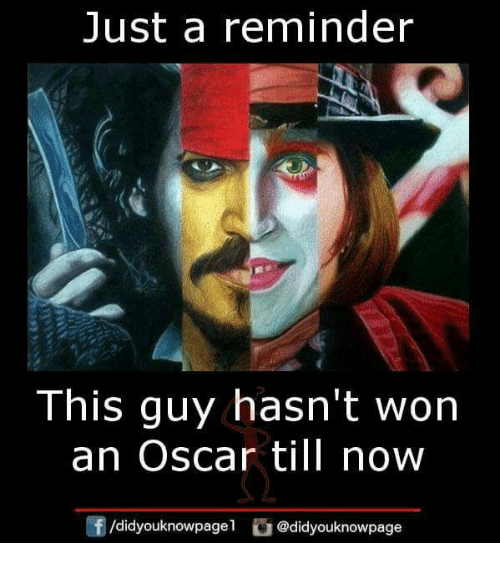 Wonned: Just a reminder  This guy hasn't won  an Oscar till now  团/didyouknowpagel。@didyouknowpage