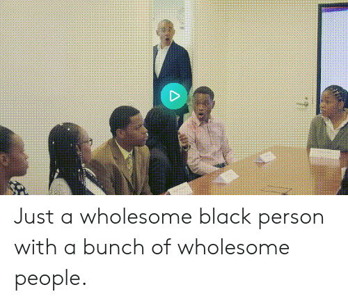 Black, Wholesome, and Person: Just a wholesome black person with a bunch of wholesome people.