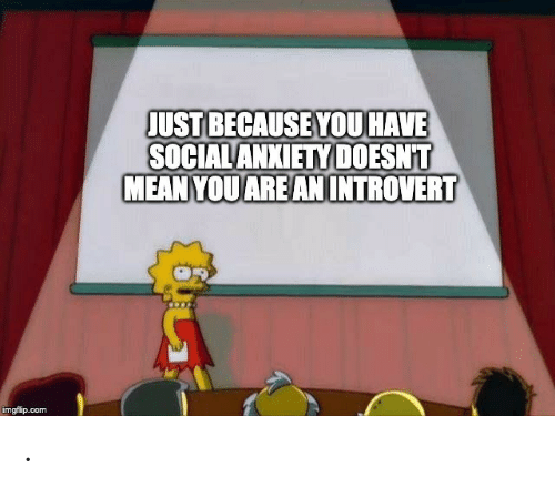 Mean, Com, and You: JUST BECAUSE YOU HAVE  SOCIALANXIETY DOESNT  MEAN YOUAREANINTROVERT  imgflip.com .