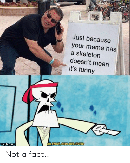 Funny, Meme, and Mean: Just because  your meme has  a skeleton  doesn't mean  it's funny  SILENCE, NON-BELIEVER!  imgflip.com Not a fact..