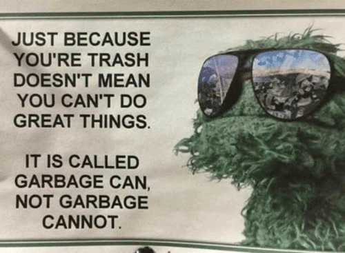 Dank, Trash, and Mean: JUST BECAUSE  YOU'RE TRASH  DOESN'T MEAN  YOU CAN'T D0  GREAT THINGS.  IT IS CALLED  GARBAGE CAN,  NOT GARBAGE  CANNOT.