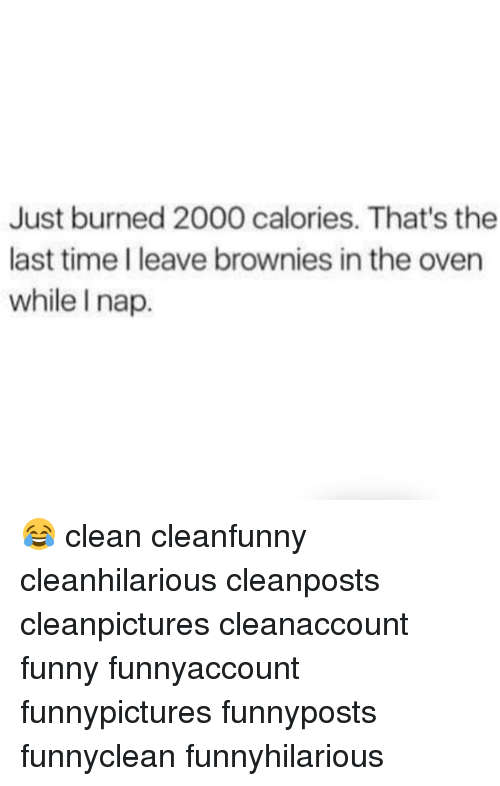 Funny, Memes, and Time: Just burned 2000 calories. That's the  last time I leave brownies in the oven  while I nap. 😂 clean cleanfunny cleanhilarious cleanposts cleanpictures cleanaccount funny funnyaccount funnypictures funnyposts funnyclean funnyhilarious