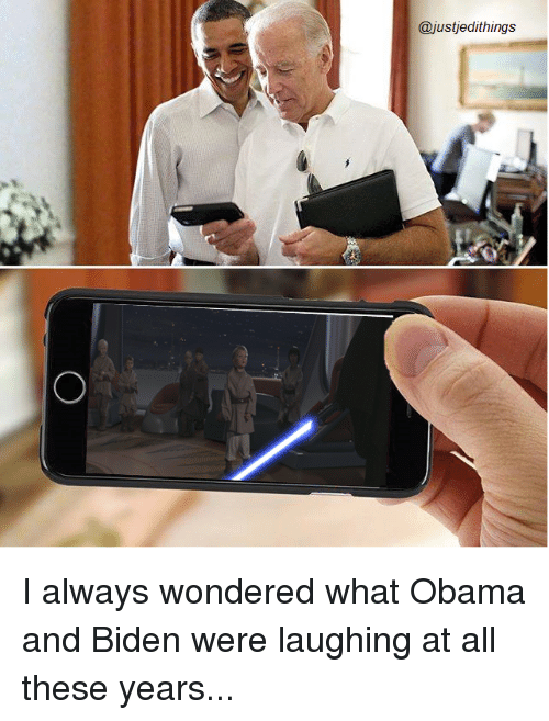 Obama And Biden: @just edithings I always wondered what Obama and Biden were laughing at all these years...