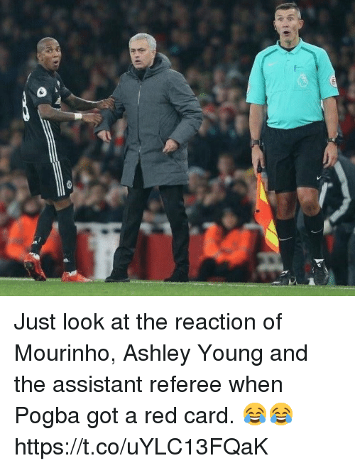 Soccer, Ashley Young, and Got: Just look at the reaction of Mourinho, Ashley Young and the assistant referee when Pogba got a red card. 😂😂 https://t.co/uYLC13FQaK