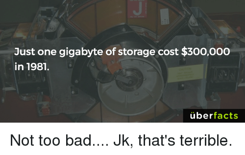 Terribler: Just one gigabyte of storage cost $300,000  in 1981.  uber  facts Not too bad.... Jk, that's terrible.