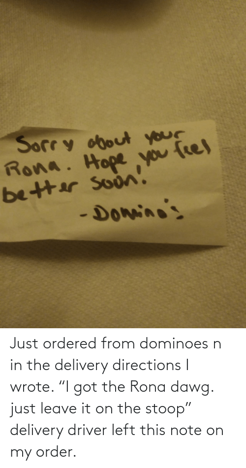 "Ordered: Just ordered from dominoes n in the delivery directions I wrote. ""I got the Rona dawg. just leave it on the stoop"" delivery driver left this note on my order."
