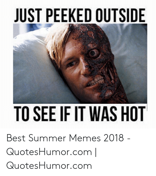 Summer Memes 2018: JUST PEEKED OUTSIDE  TO SEE IF IT WAS HOT Best Summer Memes 2018 - QuotesHumor.com | QuotesHumor.com