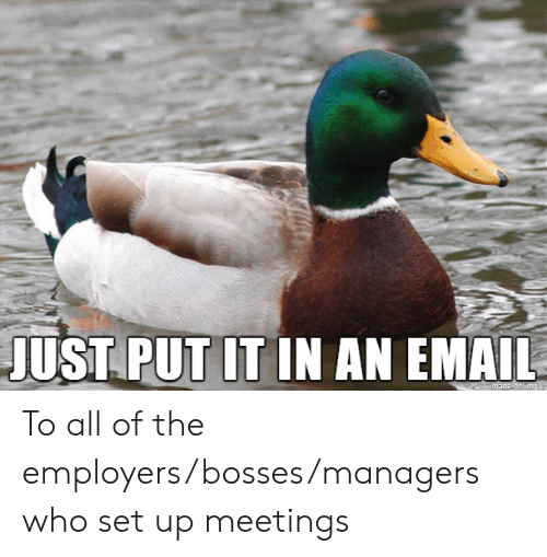 Bosses: JUST PUT IT IN AN EMAIL  made on img ur To all of the employers/bosses/managers who set up meetings