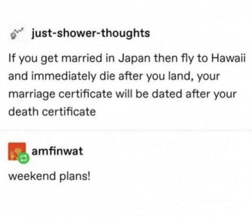 Marriage, Shower, and Shower Thoughts: just-shower-thoughts  If you get married in Japan then fly to Hawaii  and immediately die after you land, your  marriage certificate will be dated after your  death certificate  amfinwat  weekend plans!