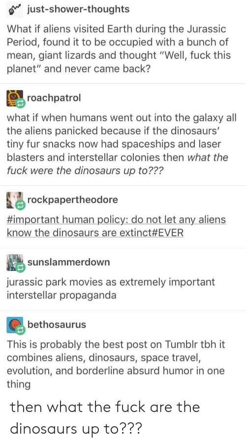 "Shower thoughts: just-shower-thoughts  What if aliens visited Earth during the Jurassic  Period, found it to be occupied with a bunch of  mean, giant lizards and thought ""Well, fuck this  planet"" and never came back?  roachpatrol  what if when humans went out into the galaxy all  the aliens panicked because if the dinosaurs'  tiny fur snacks now had spaceships and laser  blasters and interstellar colonies then what the  fuck were the dinosaurs up to???  rockpapertheodore  #important human policy: do not let any aliens  know the dinosaurs are extinct #EVER  sunslammerdown  jurassic park movies as extremely important  interstellar propaganda  bethosaurus  This is probably the best post on Tumblr tbh it  combines aliens, dinosaurs, space travel,  evolution, and borderline absurd humor in one  thing then what the fuck are the dinosaurs up to???"