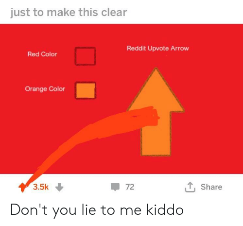 Just to Make This Clear Reddit Upvote Arrow Red Color Orange Color