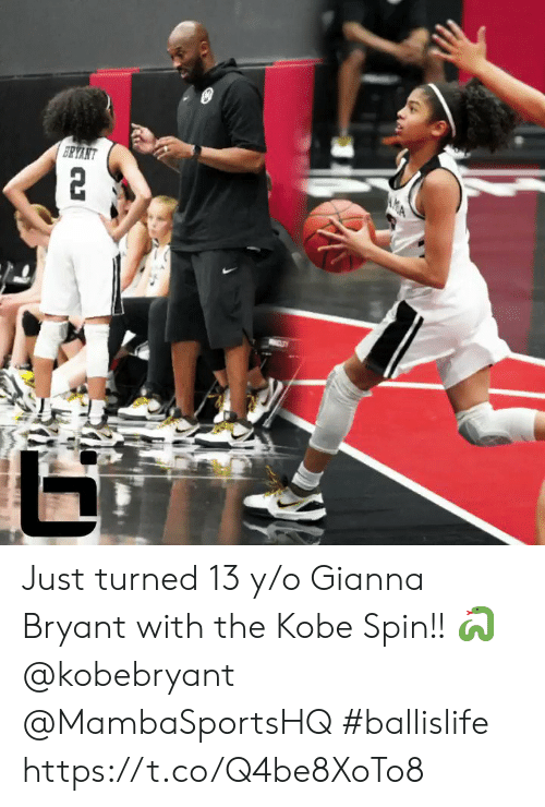 Memes, Kobe, and 🤖: Just turned 13 y/o Gianna Bryant with the Kobe Spin!! 🐍 @kobebryant @MambaSportsHQ  #ballislife https://t.co/Q4be8XoTo8
