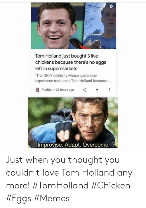 Couldnt: Just when you thought you couldn't love Tom Holland any more! #TomHolland #Chicken #Eggs #Memes