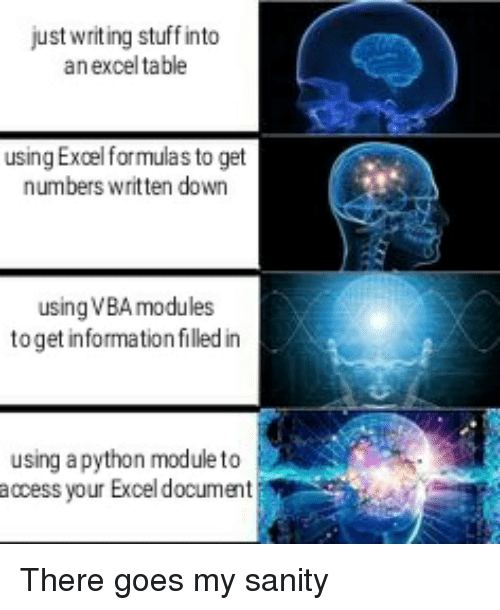 vba: just writ ing stuff into  an excel table  using Excel formulas to get  numbers written down  using VBA modules  to get information filled in  using apython module to  access your Excel document