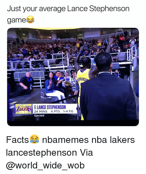 Basketball, Facts, and Los Angeles Lakers: Just your average Lance Stephenson  game  LANCE STEPHENSON  AKERS  24 MINS 4 PTS 1-4 FG  Ejected Facts😂 nbamemes nba lakers lancestephenson Via @world_wide_wob