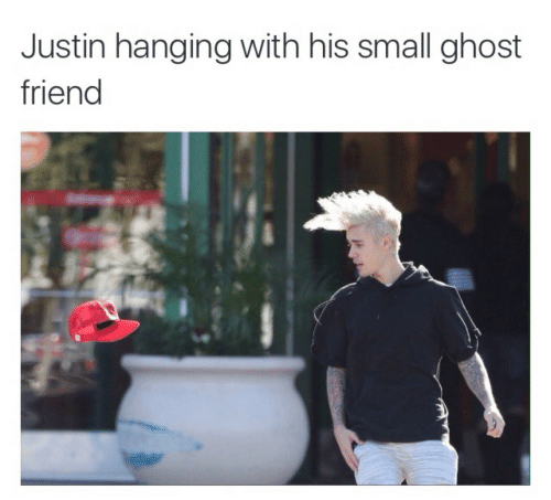 Ghost, Friend, and  Small: Justin hanging with his small ghost  friend