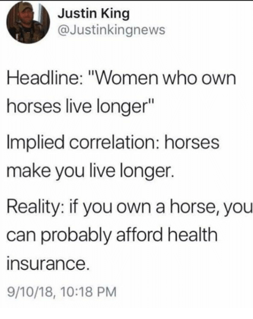 "Horses, Health Insurance, and Horse: Justin King  @Justinkingnews  Headline: ""Women who own  horses live longer  Implied correlation: horses  make you live longer.  Reality: if you own a horse, you  can probably afford health  insurance  9/10/18, 10:18 PM"