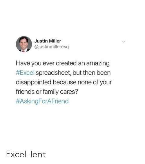 Disappointed: Justin Miller  @justinmilleresq  Have you ever created an amazing  #Excel spreadsheet, but then been  disappointed because none of your  friends or family cares?  Excel-lent