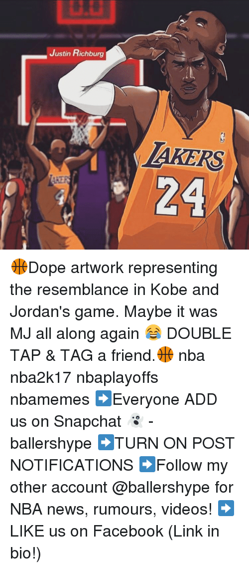 Snapchater: Justin Richburg  BIKERS  24 🏀Dope artwork representing the resemblance in Kobe and Jordan's game. Maybe it was MJ all along again 😂 DOUBLE TAP & TAG a friend.🏀 nba nba2k17 nbaplayoffs nbamemes ➡Everyone ADD us on Snapchat 👻 - ballershype ➡TURN ON POST NOTIFICATIONS ➡Follow my other account @ballershype for NBA news, rumours, videos! ➡LIKE us on Facebook (Link in bio!)