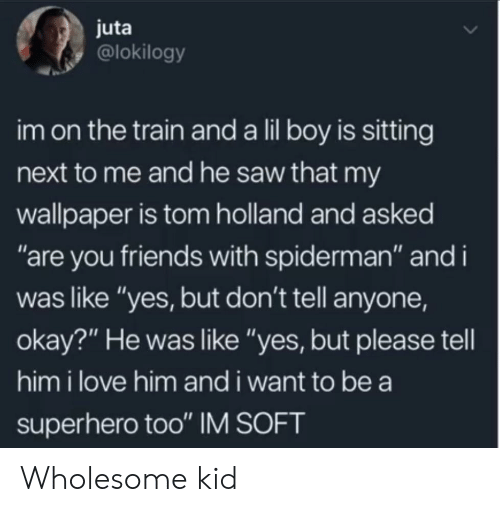 "the train: juta  @lokilogy  im on the train and a lil boy is sitting  next to me and he saw that my  wallpaper is tom holland and asked  ""are you friends with spiderman"" and i  was like ""yes, but don't tell anyone,  okay?"" He was like ""yes, but please tell  him i love him and i want to be a  superhero too"" IM SOFT Wholesome kid"