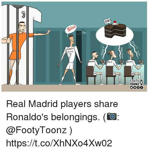Memes, Real Madrid, and Ronaldo: JUUENTUS  CR7  RONALDO  M.DIA2  BENZEMA  BALE  RAMOS  TOONZH  OOO0 Real Madrid players share Ronaldo's belongings. (📷: @FootyToonz ) https://t.co/XhNXo4Xw02
