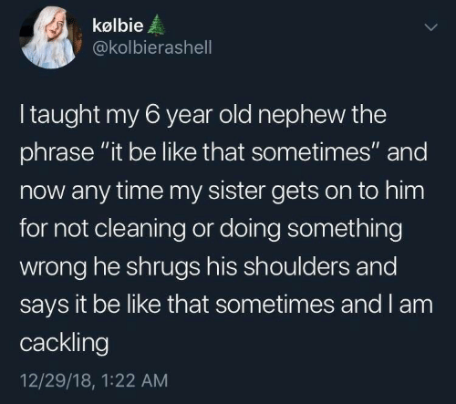 """shrugs: kølbie  @kolbierashell  I taught my 6 year old nephew the  phrase """"it be like that sometimes"""" and  now any time my sister gets on to him  for not cleaning or doing something  wrong he shrugs his shoulders and  says it be like that sometimes and l am  cackling  12/29/18, 1:22 AM"""