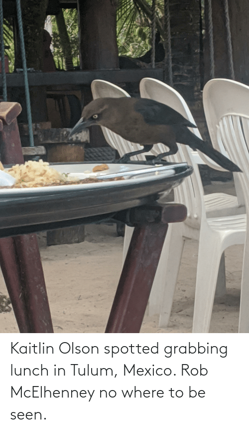 Olson: Kaitlin Olson spotted grabbing lunch in Tulum, Mexico. Rob McElhenney no where to be seen.
