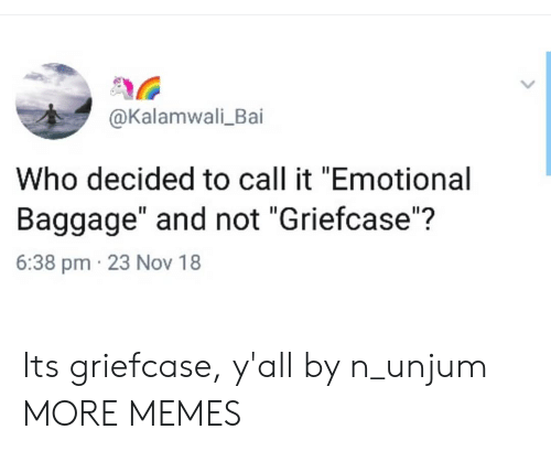 """Dank, Memes, and Target: @Kalamwali_Bai  Who decided to call it """"Emotional  Baggage"""" and not """"Griefcase""""?  6:38 pm 23 Nov 18 Its griefcase, y'all by n_unjum MORE MEMES"""