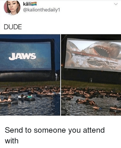 Dude, Memes, and 🤖: kali  @kalionthedaily1  DUDE  JAWS Send to someone you attend with