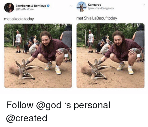 God, Shia LaBeouf, and Today: Kangaroo  Beerbongs & Bentleys  @PostMalone  @YourFavKangaroo  met a koala today  met Shia LaBeouf today Follow @god 's personal @created