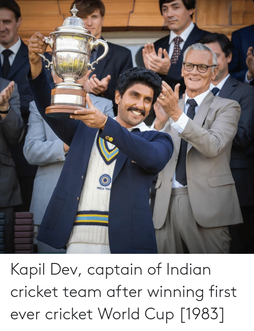 World Cup: Kapil Dev, captain of Indian cricket team after winning first ever cricket World Cup [1983]
