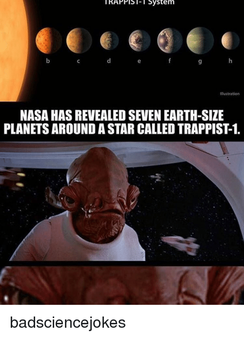 Apple, Memes, and Nasa: KAPPIS System  Appl Sol- l System  Illustration  NASA HASREVEALED SEVEN EARTH-SIZE  PLANETS AROUND A STAR CALLEDTRAPPIST1. badsciencejokes