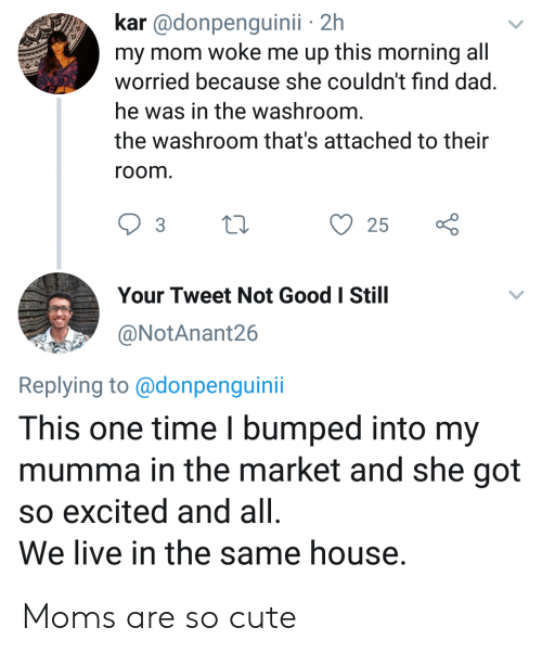 Kar: kar @donpenguinii 2h  my mom woke me up this morning all  worried because she couldn't find dad.  he was in the washroom.  the washroom that's attached to their  room.  25  Your Tweet Not Good I Still  @NotAnant26  Replying to@donpenguini  This one time I bumped into my  mumma in the market and she got  so excited and all  We live in the same house. Moms are so cute