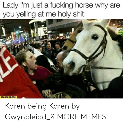 Being: Karen being Karen by Gwynbleidd_X MORE MEMES