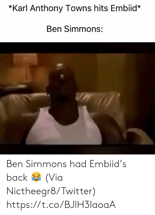 Karl-Anthony Towns: *Karl Anthony Towns hits Embiid*  Ben Simmons: Ben Simmons had Embiid's back 😂  (Via Nictheegr8/Twitter) https://t.co/BJlH3laoaA