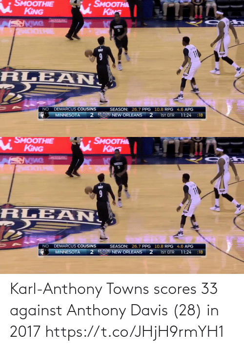 Karl-Anthony Towns: Karl-Anthony Towns scores 33 against Anthony Davis (28) in 2017  https://t.co/JHjH9rmYH1