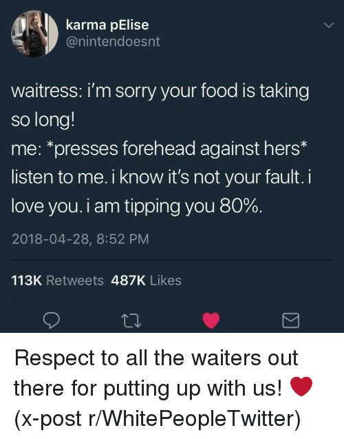 tipping: karma pElise  @nintendoesnt  waitress: i'm sorry your food is taking  so long!  me: *presses forehead against hers*  listen to me. i know it's not your fault. i  love you. i am tipping you 80%.  2018-04-28, 8:52 PM  113K Retweets 487K Likes <p>Respect to all the waiters out there for putting up with us! ❤️ (x-post r/WhitePeopleTwitter)</p>