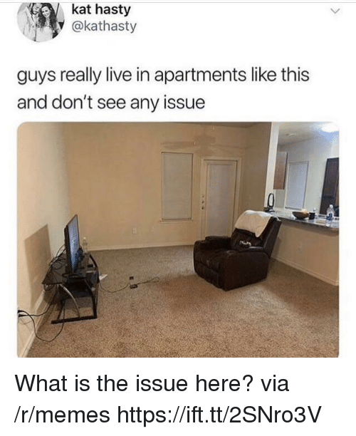 Memes, Live, and What Is: kat hasty  y @kathasty  guys really live in apartments like this  and don't see any issue What is the issue here? via /r/memes https://ift.tt/2SNro3V