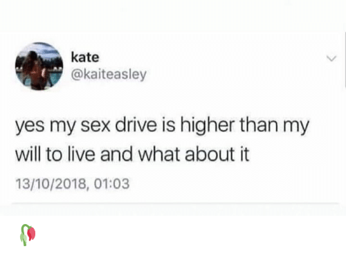 Memes, Sex, and Drive: kate  @kaiteasley  yes my sex drive is higher than my  will to live and what about it  13/10/2018, 01:03 🥀