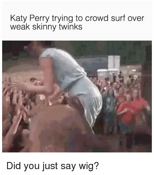 Katy Perry: Katy Perry trying to crowd surf over  weak skinny twinks Did you just say wig?