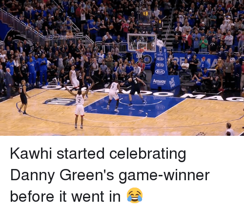 Game Winner: Kawhi started celebrating Danny Green's game-winner before it went in 😂