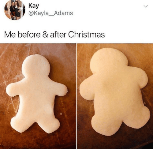 before after: Kay  @Kayla_Adams  Me before & after Christmas